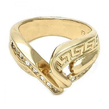 Gold Layered Elegant Ring, Greek Key Design, with Cubic Zirconia, Golden Tone