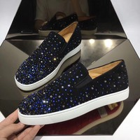 CL Christian Louboutin Women's Leather Fashion Low Top Sneakers Shoes