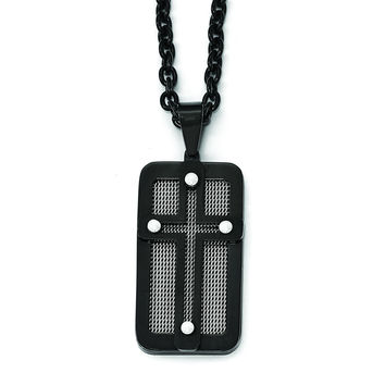 Stainless Steel Polished Black IP-plated w/ Wire Inlay Cross Necklace SRN1997
