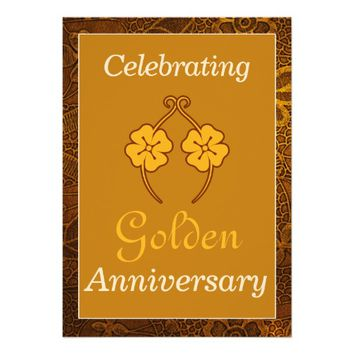 50th Flowers Frame Wedding Anniversary Invitation