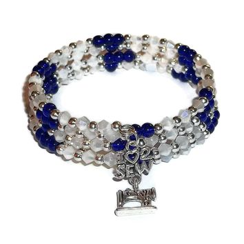 """""""I Love to Sew"""" Cobalt Blue Glass & Faceted Opaque White Crystal Beaded Hand Crafted Bracelet"""