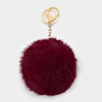 Large Rabbit Fur Pom Pom Keychain, Key Ring Bag Pendant Accessory - Burgundy