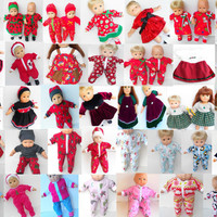 Bitty Baby Boy Christmas Tree Sweatsuit for 14 15 Inch Baby Dolls Handmade Boy Or Girl Doll Pants Polar Fleece Top Hat 3pc Outfit