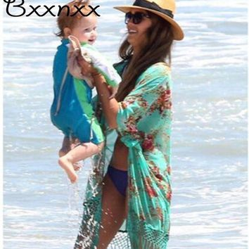 MDIG57D High Quality Half Sleeve Print Swimsuit Cover Up Summer New Style Sexy Beach Cover Up Bathing Suit
