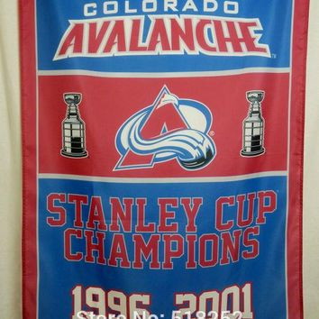 Colorado Avalanche Stanley Cup ChampionsFlag 3x5 FT 150X90CM NHL Banner 100D Polyester Custom flag grommets 6038, free shipping