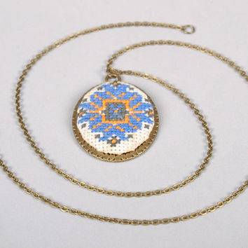 Handmade pendant embroidered manually handcrafted design jewelry accessories