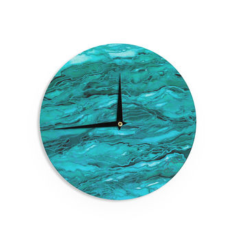 "Ebi Emporium ""Marble Idea! - Light Teal Aqua"" Aqua Blue Wall Clock"