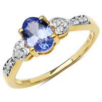 0.81 Carat Genuine Tanzanite & White Diamond 10K Yellow Gold Ring