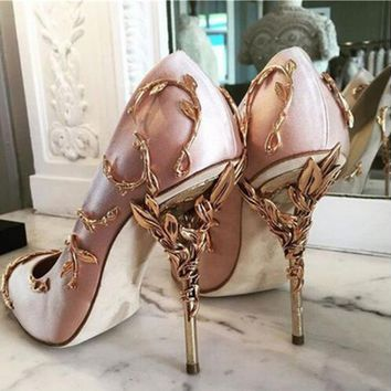 Choudory designer heel platform pumps shoes women luxury 2017 Metallic gold sexy salto alto plataforma bridal shoes pink stileto