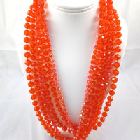 Vintage Orange Bead Necklace 55 inches Rope Opalescent 3 Bead Strands Mod Bohemian Necklace 1960's Bright Orange Necklace