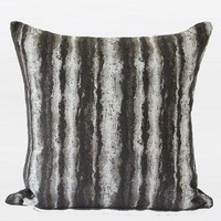"Charcoal Mix Color Stripe Pattern Metallic Chenille Pillow 20""X20"""