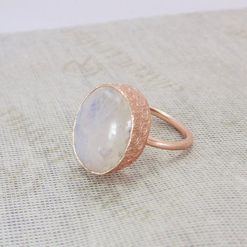 Moonstone Ring - Rose Gold Vermeil - Gemstone Ring - Oval Shape Ring - Stacking Ring - Handmade Ring - Unique Gold Ring - Solid Brass Ring