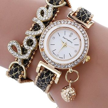 Rhinestone Love Bracelet  Quartz Watch
