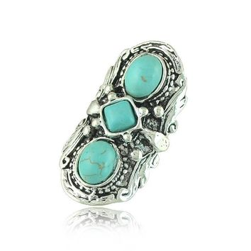 Ring, Bohemian Turquoise - 3 Stones