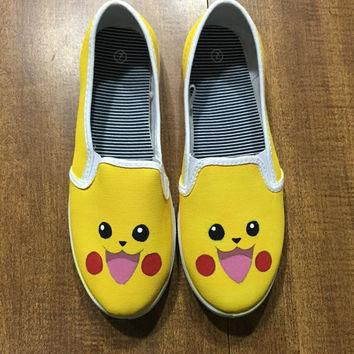 Pikachu Pokemon Hand Painted Canvas Shoes (Generic Brand or Authentic Vans)