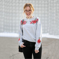 New Arrival 2017 Womans Flowers Embroidery Sweatshirt Mengpipi Casual Long Sleeve Pullover Jumper Harajuku Kawaii Sweatshirt