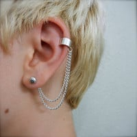 Simple Silver Ear Cuff - Double Chain on Earring Back