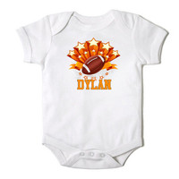 Personalized Football Star Onesuit for Baby Boy or Baby Girl