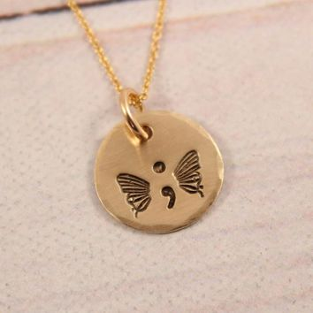Hand Stamped SemiColon Butterfly Necklace - Gold