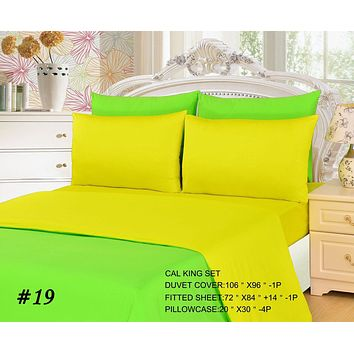 Tache 4-6 Piece Lemon Lime Yellow/Green Reversible  Duvet Cover Set (DC46PC-YG)