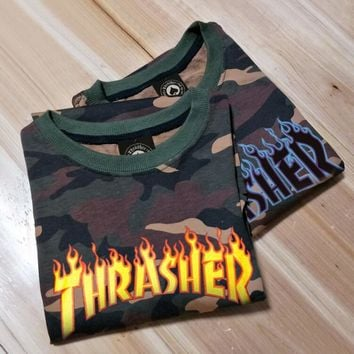 Thrasher Trending Unisex Casual Camouflage Flame Print Short Sleeve Round Neck T-Shirt Top