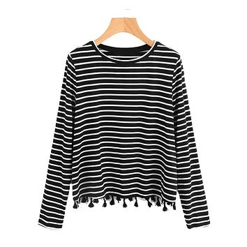 Tassel Trim Striped Top