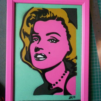 Marilyn Monroe,framed painting,stencil art,spray paints,pop art,urban,homewares,women,home,living,icons,Norma Jean,America,bright,gift ideas