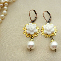 White Lace Wedding Jewelry, Lacey Flower Earrings, Roses in Ivory, Bridesmaid Gifts, Wedding Jewelry Country Rustic Weddings
