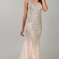 One Shoulder Floor Length Jewel Embellished Dress