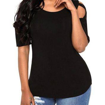 B| Chicloth Cold Shoulder Short Sleeves Cut Out Crisscross Solid Tees Shirts