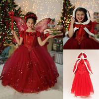 2016 Chrismas Dress Girls Cosplay Dress Costume Princess Anna Elsa Dress Kids Party Dresses Fantasia Infantis Vestido Menina