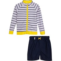 "Little Boy Long-Sleeve Rash Guard Set - ""Hampton Get Away"" Yellow"