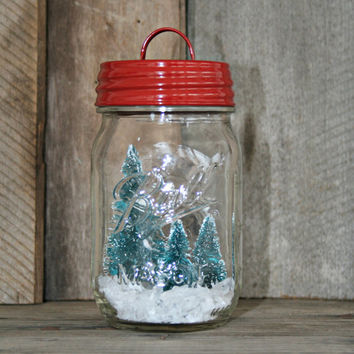Mason Jar Snow Globe, Waterless. Retro, Vintage, Farmhouse, Rustic, Cottage, Shabby Chic, Christams Decor