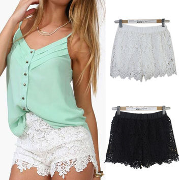 Lace Elastic High Waist Sport Hot Shorts