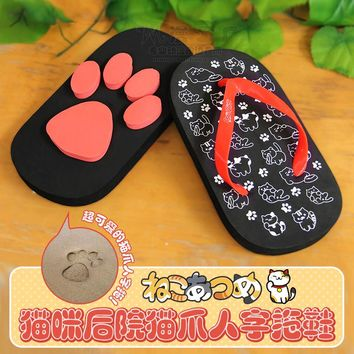 Adult Anime Cat Print Paw Design Sole Indoor/ Outdoor Flip-Flops/ Slippers EUR Size 35-43