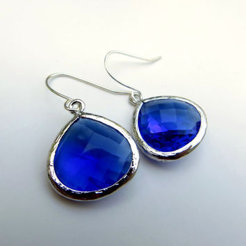 Cobalt Blue Earrings. Blue Glass Earring. Blue Drop Earrings. Blue and Silver Dangle Earrings.