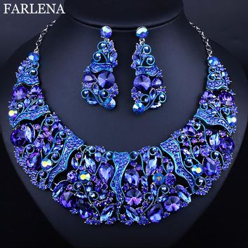 FARLENA Hot Sale Luxury High quality full rhinestones necklace and earrings sets crystal bridal wedding jewelry sets For Bridal