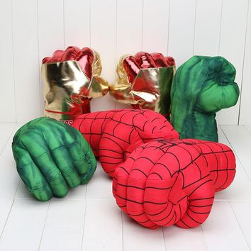 """Incredible Huge The Avengers Alliance Hulk gloves Smash Hands +New Cosplay Spider Man Soft Plush Glove approx 10"""" 26cm"""