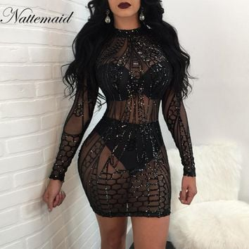 Mesh Patchwork Bodycon Dress Sexy Clubwear Black Sequin Dresses Party Vintage Bandage Dress