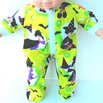 American Girl Bitty Baby Clothes  15 inch Doll Clothes Boy or Girl 1 pair Lime Green Halloween Witch Pajamas Pjs Sleeper Zip Up