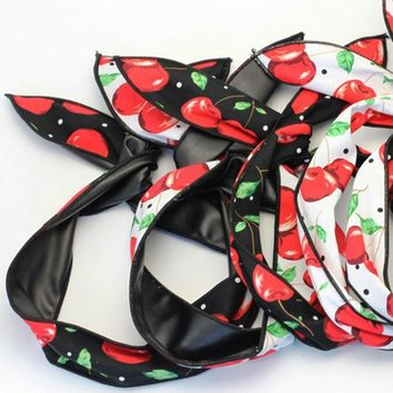 12pcs Reversible Wire Headband Pinup Dolly Bow Cherry Bandana PU Leather Bunny Ears Headwrap Fashion Hair Accessories