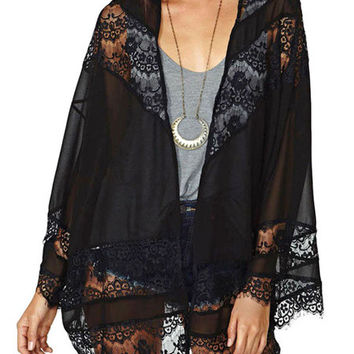 Black Floral Lace Crochet and Mesh Kimono Cardigan