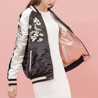 Reversible Embroidery Flower Phoenix Bird Bomber Jacket