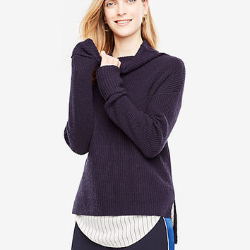 Ribbed Hi-Lo Turtleneck | Ann Taylor