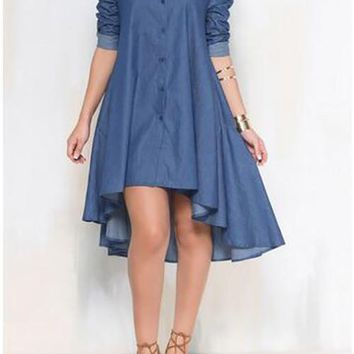 Summer Shirt Dress Women Long Sleeve Dresses Casual Asymmetrical Hem Midi Dresses Jeans Dresses