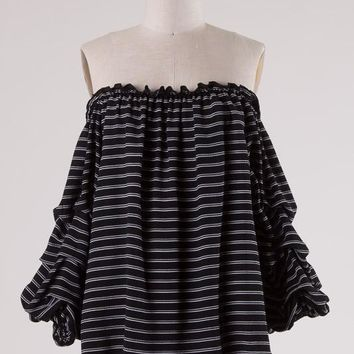 (pre-order) Striped Wide Ruffle Sleeve Blouse