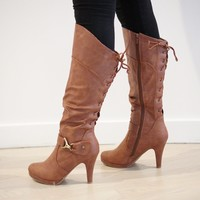 Knee High Lace Back Heel Boot