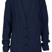 Aislinn Womens Cable Knitted Grandad Button Cardigan One Size (UK Fits 8-14) Navy