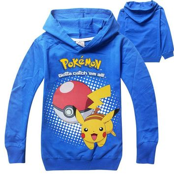 Boys Sweatshirt Girls Hoodies Kids Pokemon T Shirt Hooded Pikachu Costumes Baby Pokemon Clothes Children Hoodie roupas 2016