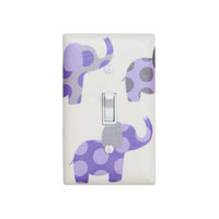 Purple and Gray Elephant Nursery Decor / Light Switch Plate Cover / Baby Girl / Lilac White